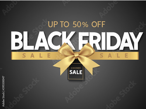 Fotografía Black friday sale design template Text with decorative golden bow and price tag