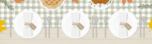 Table Setting For Thanksgiving Dinner. Cutlery, Plates, Turkey, Pumpkin Pie, Napkins, Leaves And Twigs. Green Checkered Tablecloth On Wood Table. Top View. Vector Illustration, Flat Design