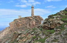 Faro Vilan, The Oldest Electric Lighthouse (1896) In Spain At Famous Costa Da Morte Region. Camariñas, Coruña, Galicia, Spain.