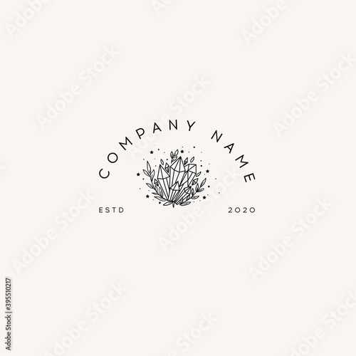 Logotype Template Mystical crystal and stars Fotobehang