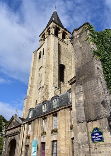 Photo Saint-Germain-des-Pres Church bell tower from Place Saint-Germain des Pres