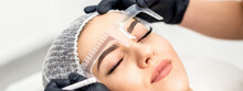 Beautician Is Measuring The Brows With Ruler Before Tattooing Eyebrows