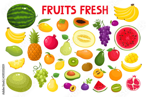 Obraz na plátně Colorful cartoon fruit icons isolated on white.