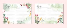 Recipe Card With Rustic Floral Garden Watercolor