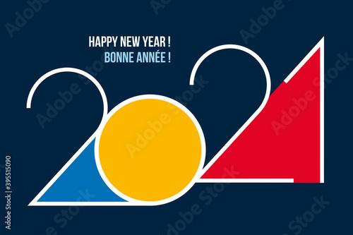 Fotografiet Une carte de vœux design pour 2021, avec un graphisme moderne, coloré et original pour souhaiter une bonne année et présenter les nouveaux projets d'une entreprise