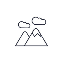 Mountains Icon Isolated On Whi...