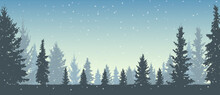 Winter Forest And Snowfall, Si...