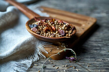 Dried Spices On A Wooden Spoon