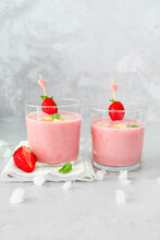 Smoothie With Milk Banana And Fresh Strawberry