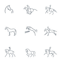 Set Of Line Drawing Of Equestrian Rider And Horse For Logo Identity. Simpler Line Draw Design Vector Illustration Isolated In One White Background