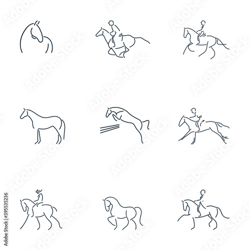 Fototapeta Set of line drawing of equestrian rider and horse for logo identity. Simpler line draw design vector illustration isolated in one white background obraz