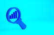 Blue Magnifying glass and data analysis icon isolated on blue background. Minimalism concept. 3d illustration 3D render.
