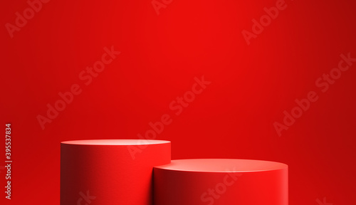 Obraz Red podium or stage in the red room, Minimal background for Christmas or Valentines day, 3d rendering studio with geometric shapes. - fototapety do salonu