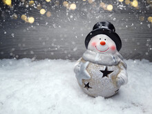 Winter Background With Snowman...