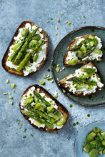 Toast With Feta, Broad Beans And Asparagus