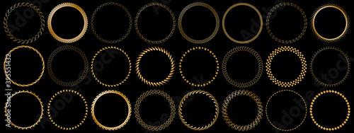 Fotografie, Obraz set of gold vintage round frame banners on dark background