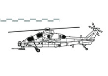 CAIC Z-10, WZ-10 Fierce Thunderbolt. Vector Drawing Of Attack Helicopter. Side View. Image For Illustration And Infographics.