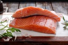 Pieces Of Raw Salmon