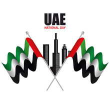Uae National Day With Flags An...