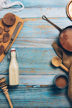 Chunks Of Chocolate And Bottle Of Milk, Utensils For Preparing Traditional Mexican Hot Chocolate