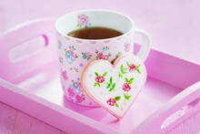 Heart Cookies Hand-painted With Floral Motifs