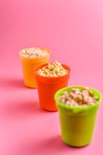 Various Breakfast Cereals In Plastic Cups