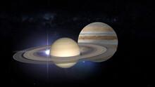 Conjunction Of Jupiter And Saturn 3d Rendering Illustration