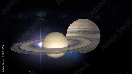 Fototapeta conjunction of Jupiter and Saturn 3d rendering illustration