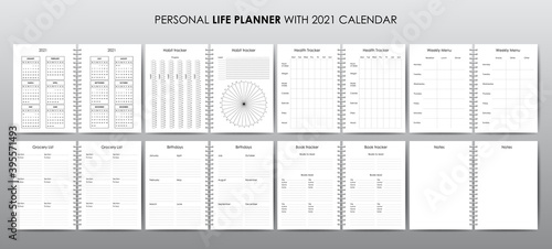 Obraz Vector template for personal life planner with 2021 calendar - fototapety do salonu