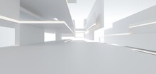 Luxury White Abstract Architectural Minimalistic Background. Contemporary Showroom. Modern  Exhibition Stand. Empty Gallery. Backlight. Polygonal Graphic Design. 3D Illustration And Rendering.