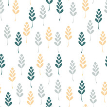 Floral Pattern. Floral In Blooming Botanical Motifs Are Scattered At Random. Seamless Vector Texture. For Trendy Prints.