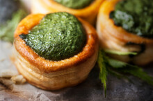 Vol Au Vent With Nettle Cream On Backing Paper