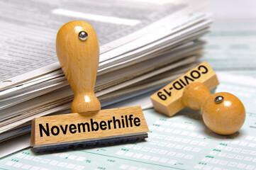 Stempel mit Aufschrift Novemberhilfe