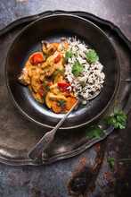 Coconut And Tomato Curry With Vegetables And Tofu, With Rice And Wild Rice Mixture