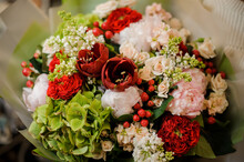 Close-up Of Bright Bouquet Of Different Fresh Spring Flowers