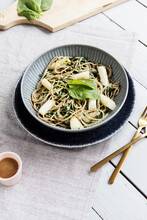 Vegan Spelt Spaghetti With White Asparagus And Spinach Sauce