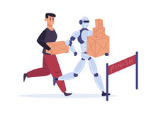 Competition With Automation Technology. Man And Robot Running To Finish With Parcels. Guy And Artificial Intelligence Holding Carton Boxes. Machine Winning Marathon Vector Illustration