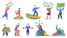 Rich People. Successful Men And Women With Big Money, Financial Success, Wealth And Luxury. Rich People Scatter Money Vector Illustration Set. Wealthy Girl And Boy Throw Banknotes, Surf, Take Photos