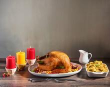 Roast Turkey With Orange Glaze And Side Dish