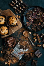 Some Kind Of Pastries Like Muffins And Ingredients Like Cocoa And Chocolates