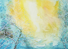 Sunny Winter Background Mixed Media Painting. Warm Winter Sun Illuminating Snow Covered Trees In Forest
