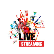 Colorful Music Promotional Poster Background With Musical Notes And Instruments Isolated Vector Illustration. Live Streaming Banner For Music Festivals, Shows And Concert Events