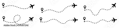 Plane route. Airplane path flat style vector - fototapety na wymiar