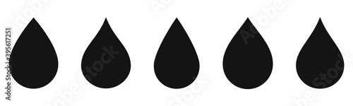 Fototapeta Water drop icons collection. Oil drop set vector obraz