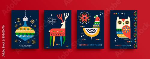 Merry Christmas folk animal card cartoon set