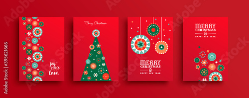Merry Christmas folk ornament tree card set