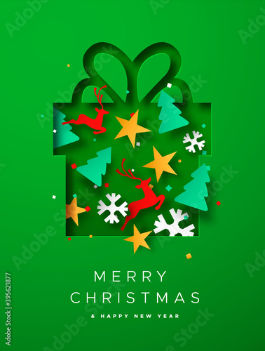 Merry Christmas paper cut decoration gift card
