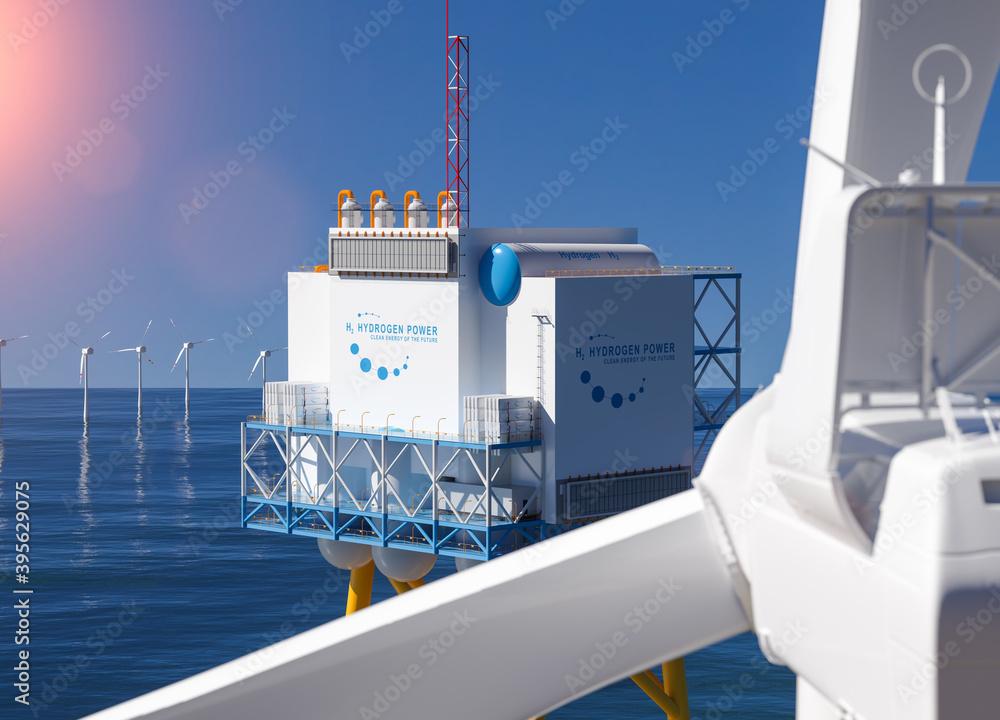 Leinwandbild Motiv - AA+W : Hydrogen renewable energy production - hydrogen gas for clean electricity solar and windturbine facility. 3d rendering.