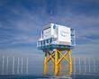 Leinwandbild Motiv Hydrogen renewable energy production - hydrogen gas for clean electricity solar and windturbine facility. 3d rendering.