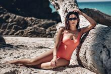 Relaxed Girl Enjoying Tropical...